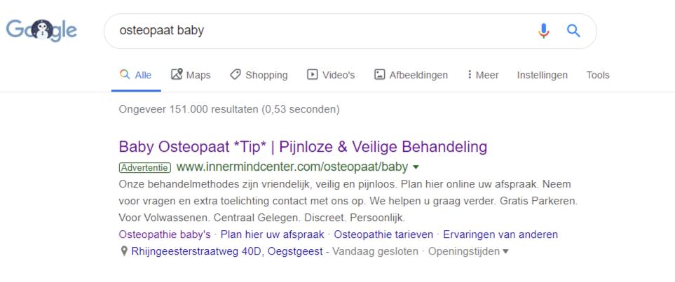 Google advertenties van Inner Mind Center