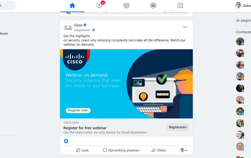 B2B Facebook advertentie van Cisco