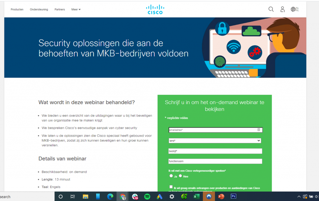 Landingpage Cisco voor het genereren van B2B leads via Facebook